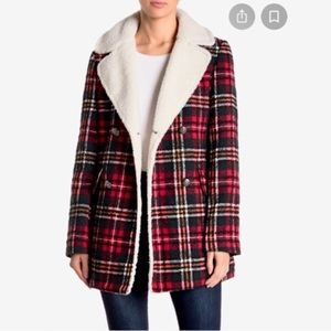 French Connection Red Plaid Shearling Coat Jacket